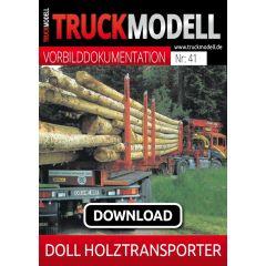 Download-Vorbilddokumentation: Holztransporter LOLGO 21 und Plattform-Sattelauflieger VARIO P4H-T von DOLL Fahrzeugbau